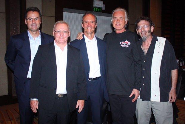 (von links) Richard Margo, Niven Walters, Woody, Jimmy Page und JD.