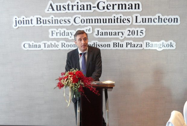 Der österreichische Botschafter Mag. Enno Drofenik bei seiner Ansprache.