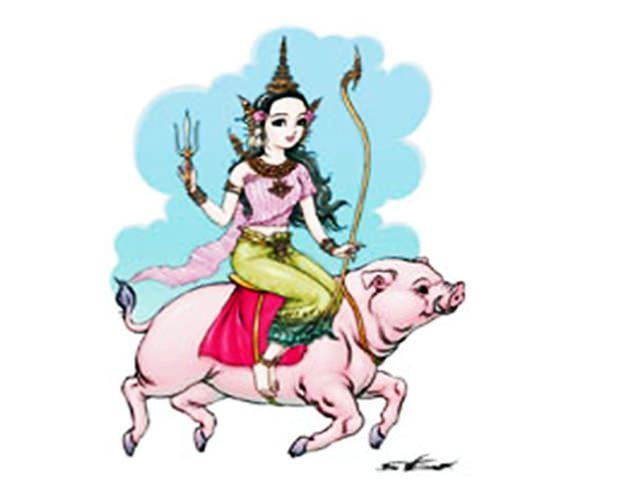 In diesem Jahr reitet die Songkran Königin sitzend auf einem Schwein.