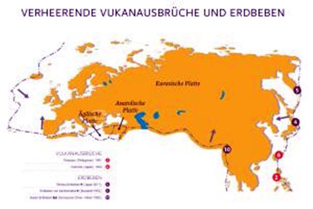 Wo es verheerende Vulkanausbrüche gab.