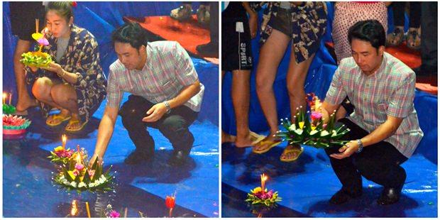 Auch Bürgermeister Ittipol Kunplome schickt mit seinem Krathong gute Wünsche mit.