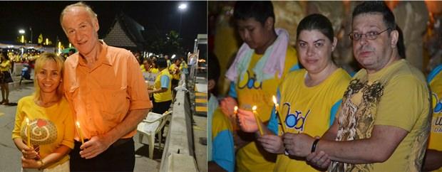 Auch viele Ausländer nehmen an den Festlichkeiten am Bali Hai Pier teil.