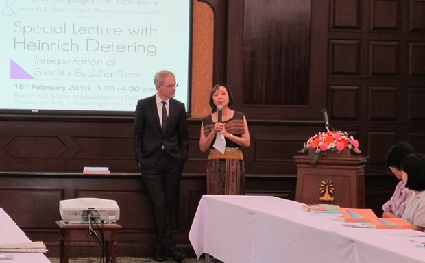 Prof. Heinrich Detering und Prof. Dr. Pornsan Watanangura bei der Vorstellung ihrer Projekte.