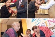 PDG 3340 C also receives a scarf on the occasion Natrada Namontree, die Präsidentin des Rotary Club Jomtien Pattaya und ihr Vorgänger Vuthikorn Kamolchote sowie Pratheep Singh Malhotra erhalten jeweils einen Schal als Geschenk.