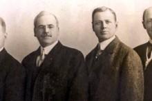 Die vier Gründer des ersten Rotary Clubs (von links): Gustavus Loehr, Silvester Schiele, Hiram Shorey und Paul Harris (© Rotary International)