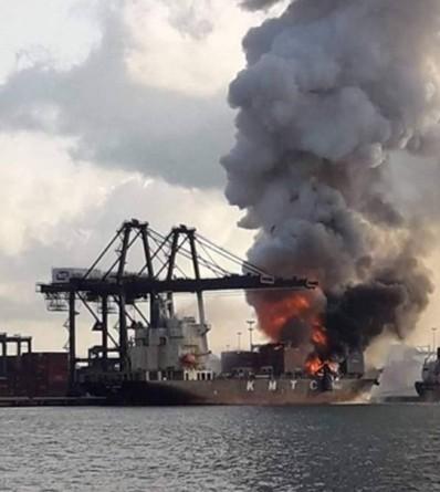 Der Frachter, der Waren aus Hongkong und Südkorea führte stammt aus Shanghai.