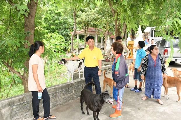 Gouverneur Pakarathorn Thienchai besucht Privatpersonen, die sich um Streuner kümmern um sie ins Netzwerk der Foundation einzubauen.