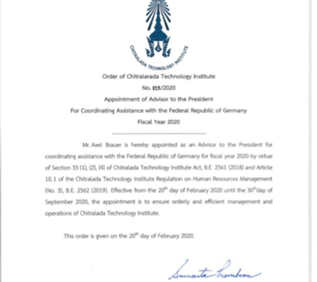 Die offizielle Ernennungsurkunde unterzeichnet von Präsidentin Professor Dr. Kunying Sumonta Promboon. (Foto Axel Brauer)